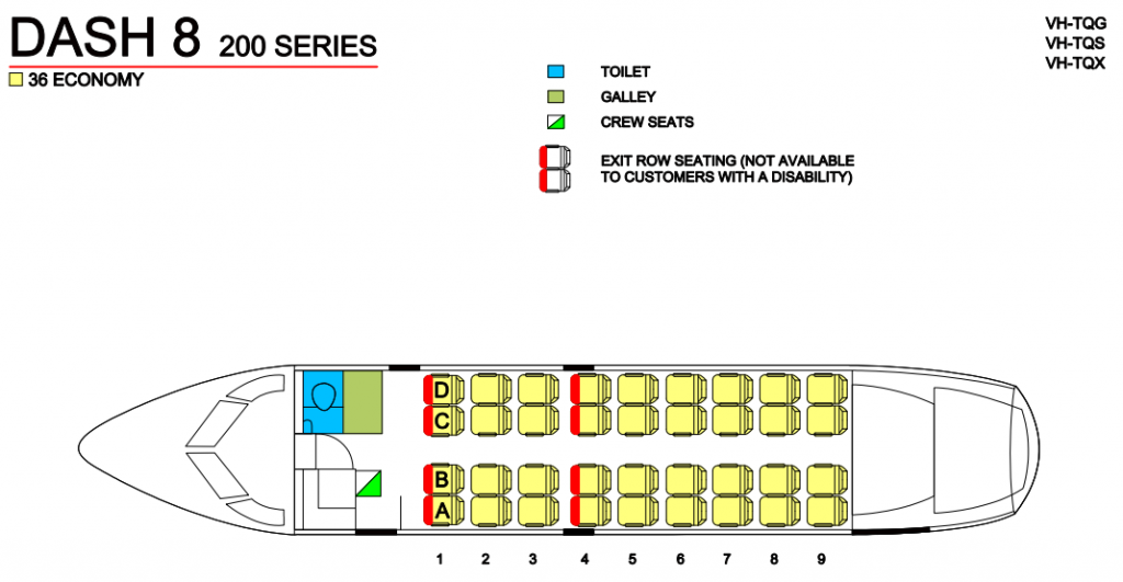 Seat Map and Seating Chart Bombardier Dash 8 200 QantasLink