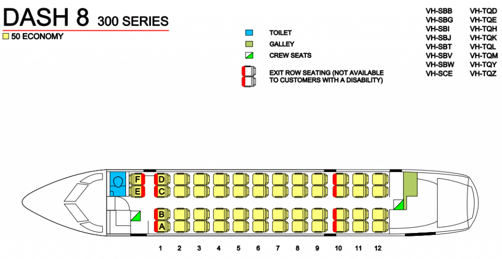 Seat Map and Seating Chart Bombardier Dash 8 300 QantasLink