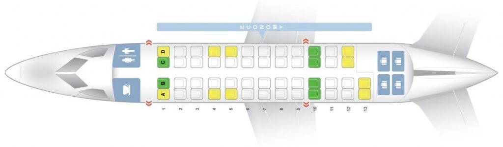 Seat Map and Seating Chart Bombardier Dash 8 Q300 Air New Zealand Link