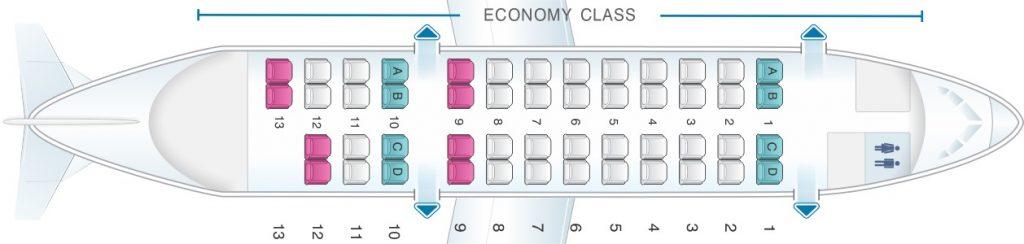 Seat Map and Seating Chart Bombardier Dash 8 Q300 Jetstar