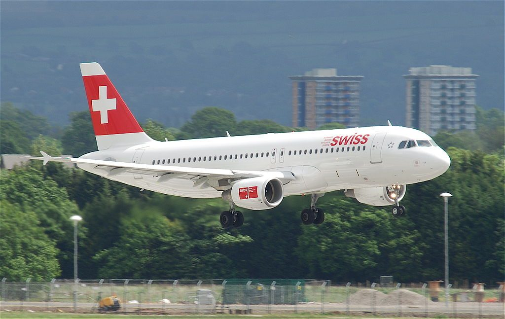 Swiss Airbus A320 214 HB JLP Allschwil at Manchester Airport MAN