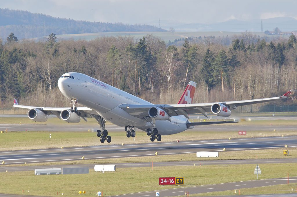 Swiss Airbus A340 313 HB JMH Chur departing Zurich International Airport ZRH