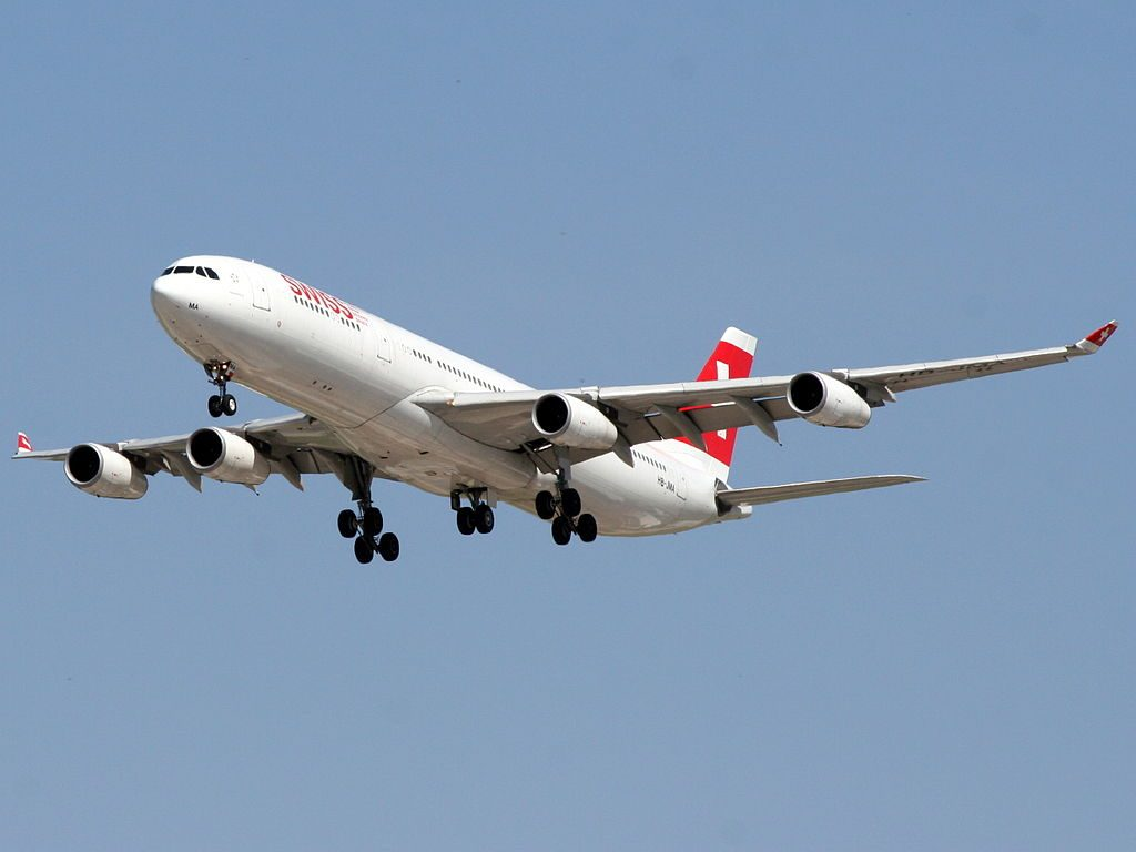 Swiss Airbus A340 313X HB JMA Frauenfeld at Ben Gurion International Airport