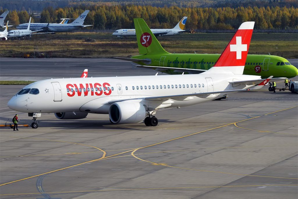 Swiss HB JBG Bombardier CS100 Airbus A220 100 at Domodedovo International Airport
