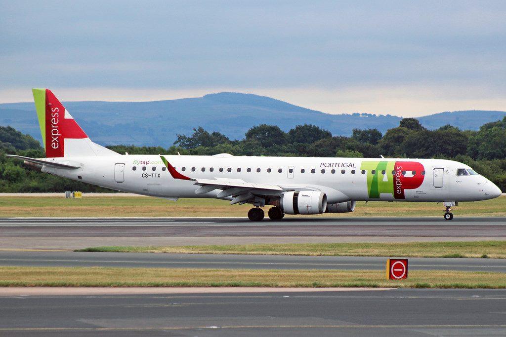 TAP Express Embraer ERJ 195AR CS TTX Portugália Porto at Manchester Airport