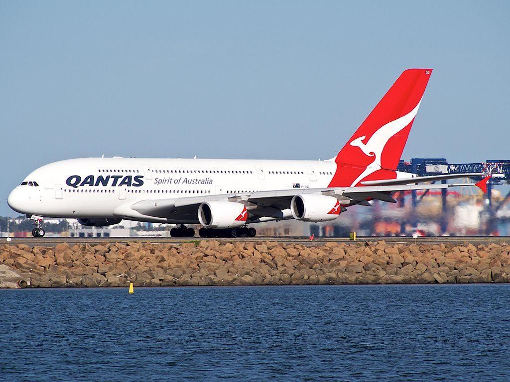 VH OQG Qantas Airbus A380 842 Charles Ulm at Sydney Airport