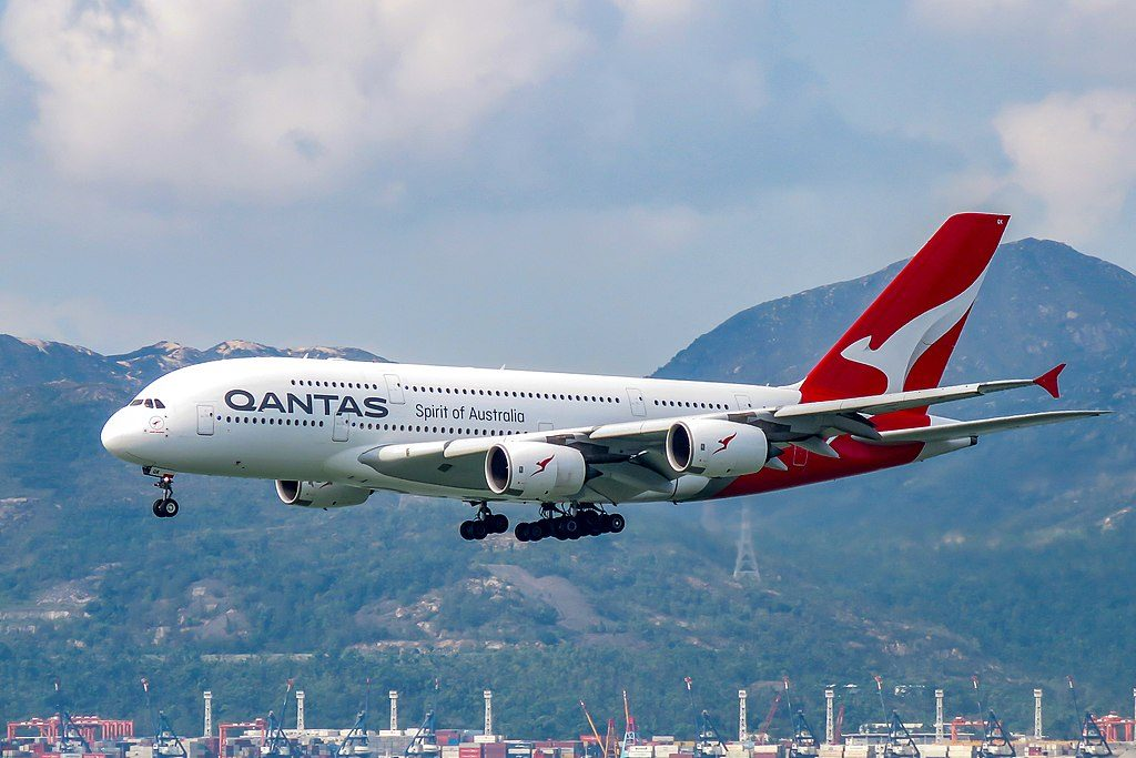 VH OQK Airbus A380 842 John Duigan Reginald Duigan of Qantas at Hong Kong International Airport