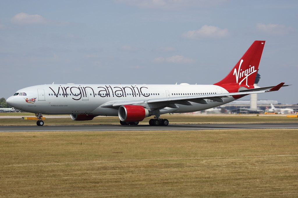 Virgin Atlantic Airbus A330 223 G VLNM Strawberry Fields at Manchester Airport