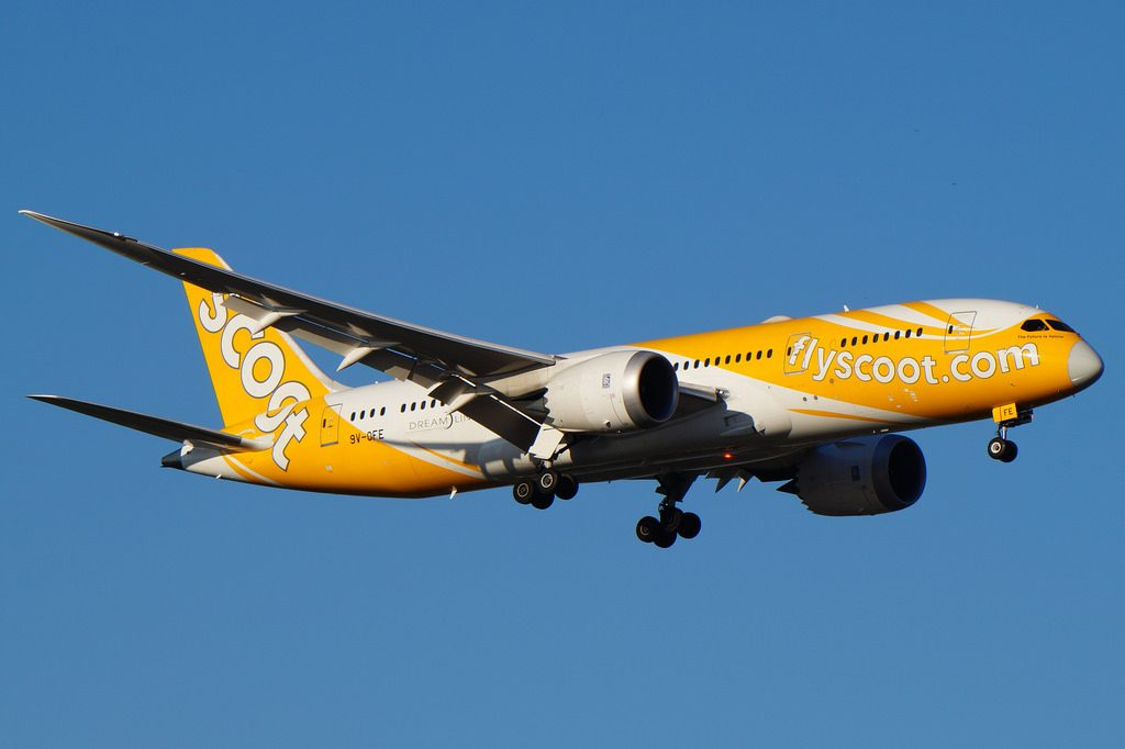 9V OFE Scoot Airlines Boeing B787 8 Dreamliner The Future Is Yellow at Perth Airport