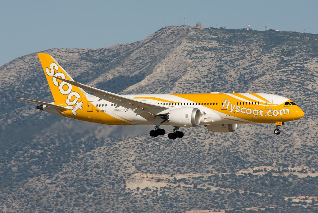 9V OFI Scoot Airlines Boeing 787 8 Dreamliner Mous Scoot ka at Athens International Airport