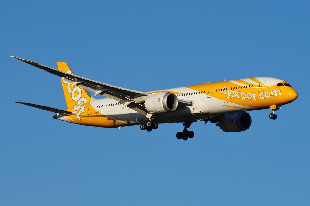 9V OJF Scoot Airlines Boeing B787 9 Dreamliner Bo eng at Perth Airport
