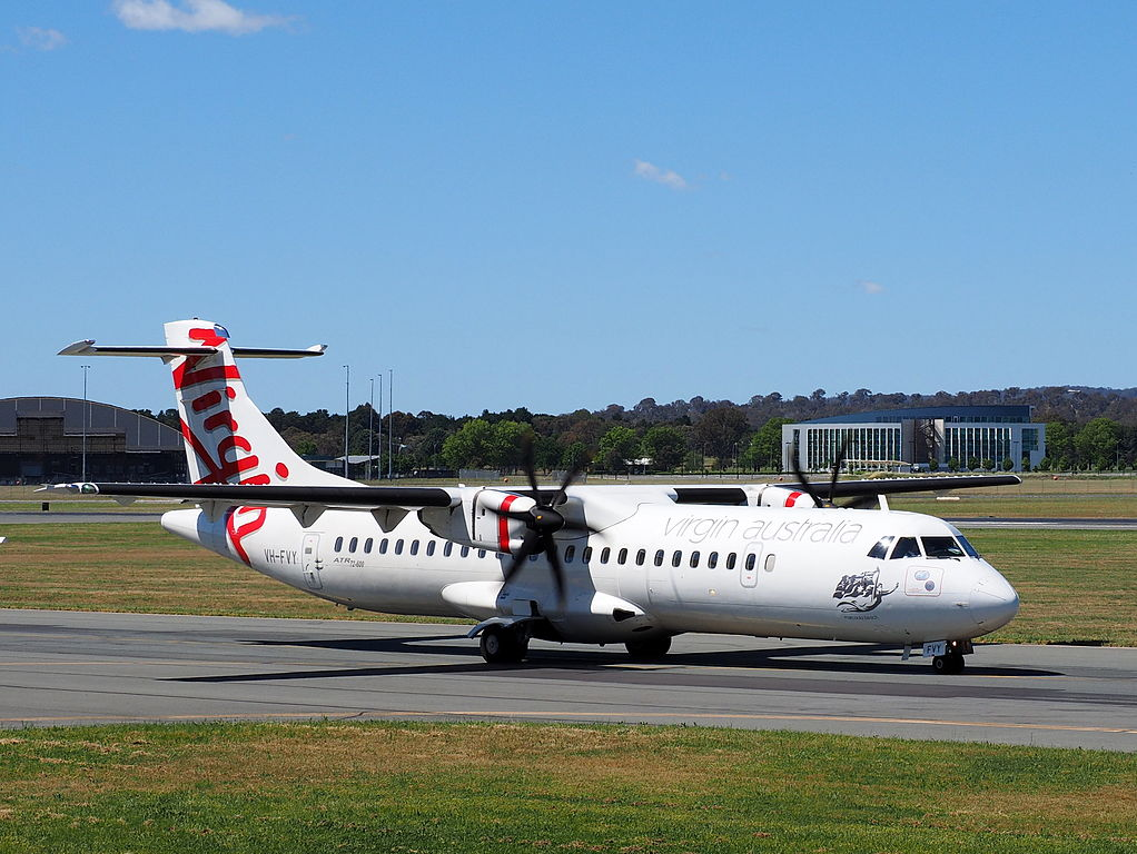 ATR 72 600 of Virgin Australia Regional VH FVY Marcoola Beach at Canberra Airport