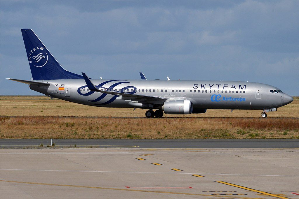 Air Europa EC LPQ Boeing 737 85PWL SKYTEAM Livery at Paris Charles de Gaulle Airport