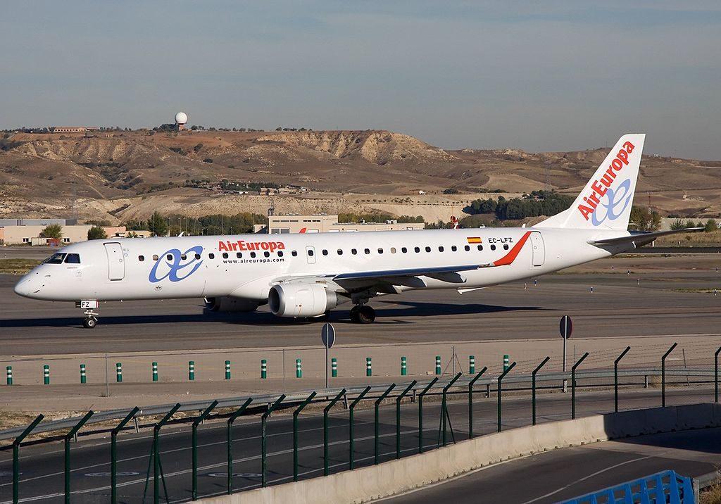 Air Europa Express EC LFZ Embraer ERJ 195LR ERJ 190 200 LR at Madrid Barajas Airport