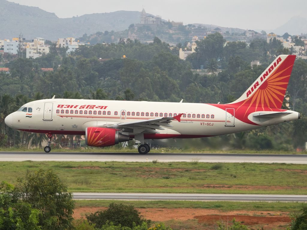 Air India Airbus A319 112 registered VT SCJ at Kempegowda Intl Airport Bengaluru