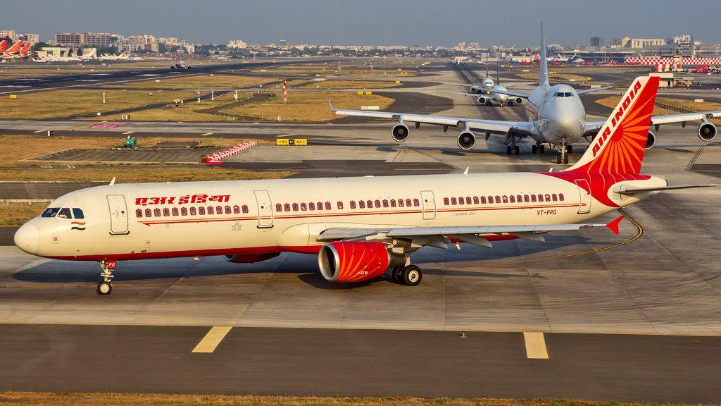 Air India Airbus A321 200 registered VT PPG at Mumbai Airport