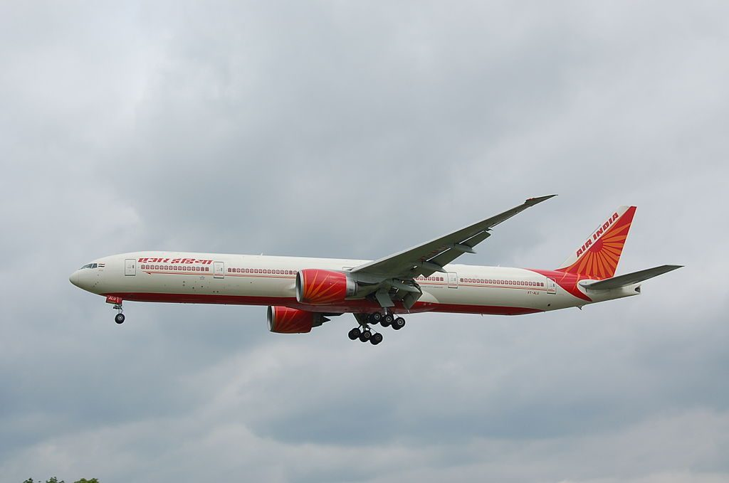 Air India VT ALU Boeing 777 300ER Punjab on final approach to rwy27L at Heathrow
