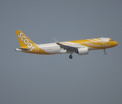 Airbus A320 271Neo 9V TNB Scoot Airlines Go Go Tamago on final at Hongkong International Airport