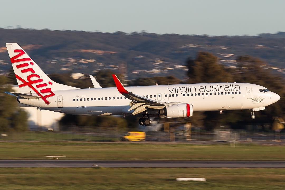 Boeing 737 8FEWL Virgin Australia VH VOS Chiton Rocks at Adelaide Airport