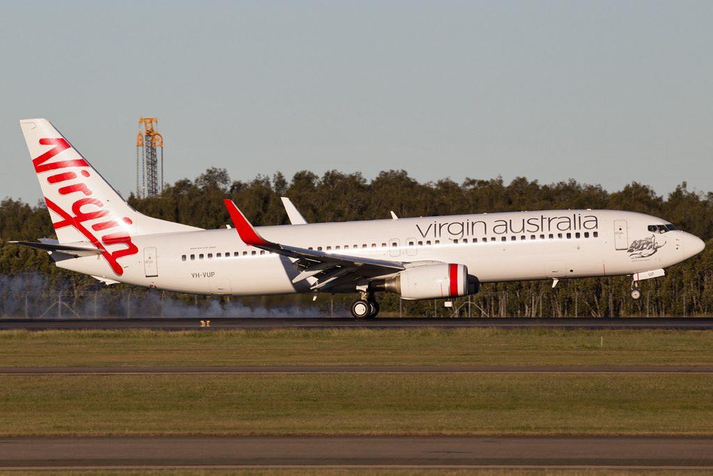 Boeing 737 8FEWL Virgin Australia VH VUP Lighthouse Beach landing at Brisbane Airport