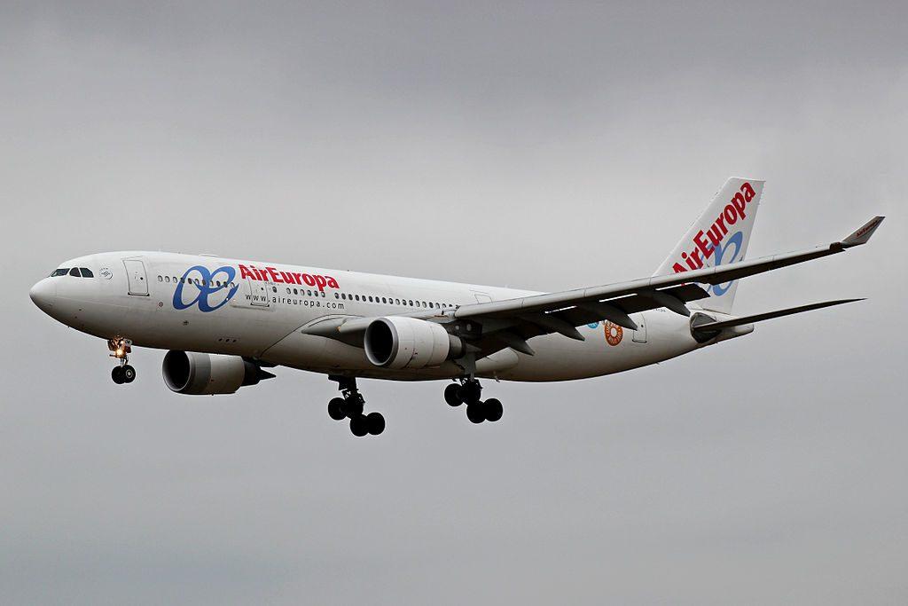 EC KOM Airbus A330 202 of Air Europa landing at Santiago de Compostela Airport