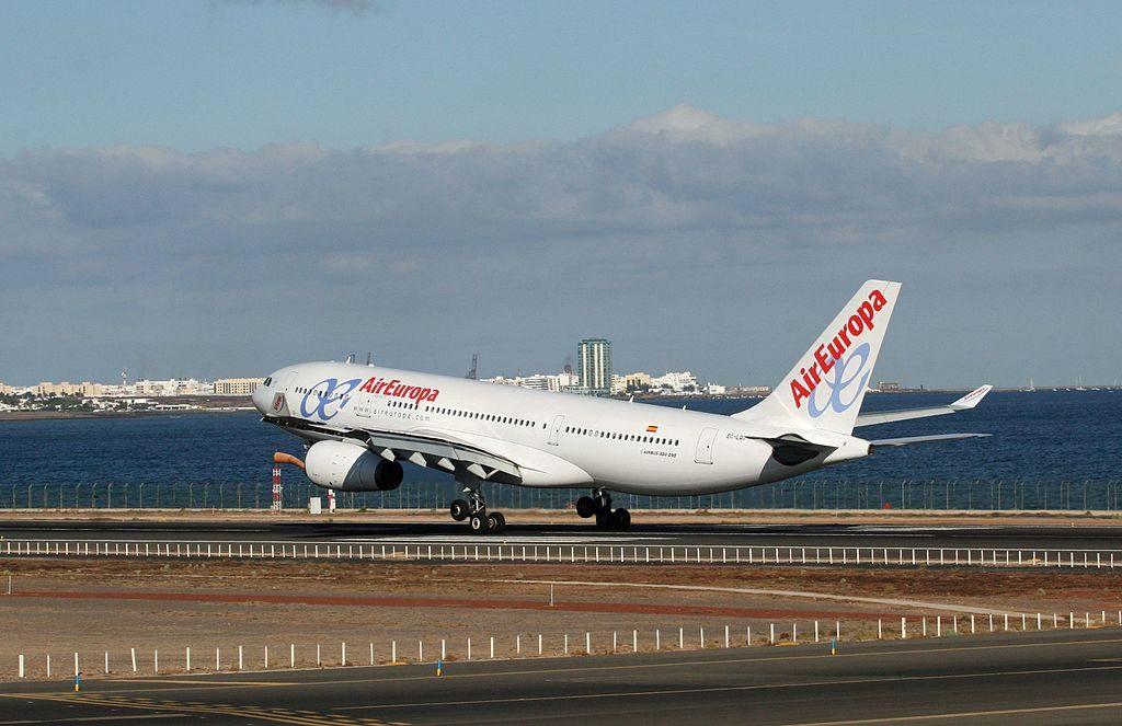 EC LQO Airbus A330 243 Air Europa landing at Lanzarote Airport
