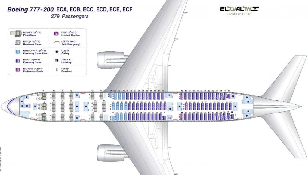 EL AL Boeing 777 200ER Seating Layout Configuration
