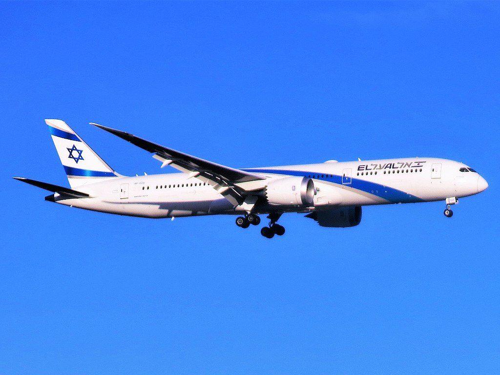 El Al Israel Airlines Boeing 787 9 Dreamliner 4X EDA Ashdod approaching Newark Liberty International Airport