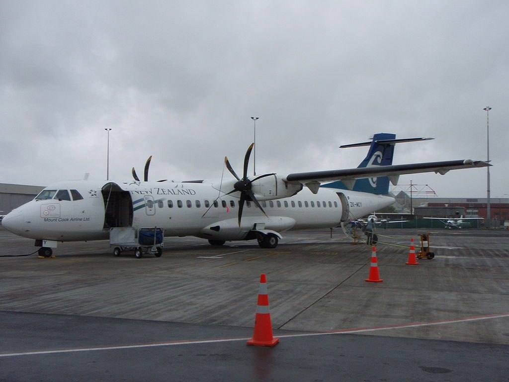 Mount Cook Airline Air New Zealand Link ZK MCY ATR72 212A parked at gate 48 Auckland International Airport Regional Terminal
