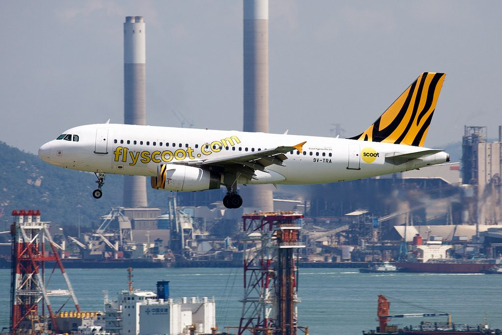 Scoot Airbus A319 132 9V TRA hybrid Tigerair livery at Singapore Changi