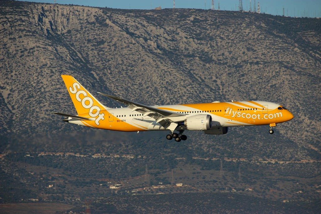 Scoot Airlines Boeing 787 8 Dreamliner Getting Lei'd 9V OFK at Athens Eleftherios Venizelos airport