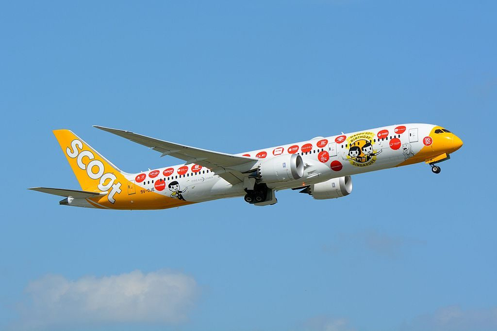 Scoot Airlines Boeing 787 9 Dreamliner 9V OJE Maju lah Happy 50th Birthday Singapore livery at Narita International Airport