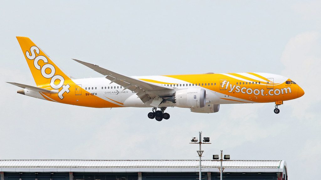 Scoot Boeing 787 8 Dreamliner 9V OFH Scooti mite at Hongkong International Airport