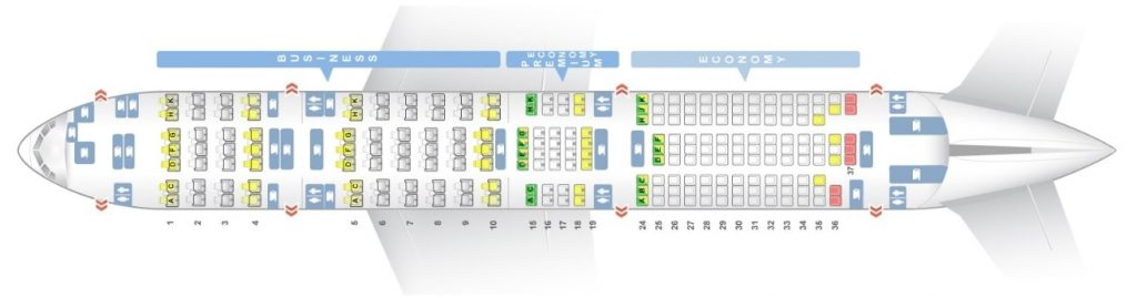 Seat Map and Seating Chart ANA Boeing 777 200ER Three Class Layout