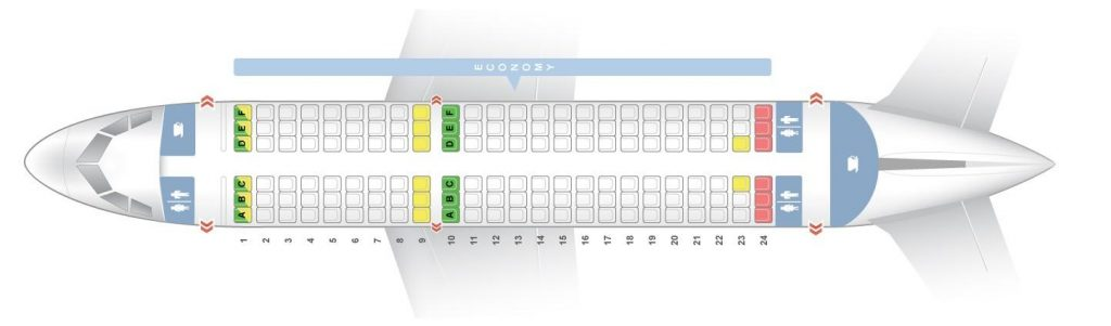 Seat Map and Seating Chart Airbus A319 100 Layout 2 Air India