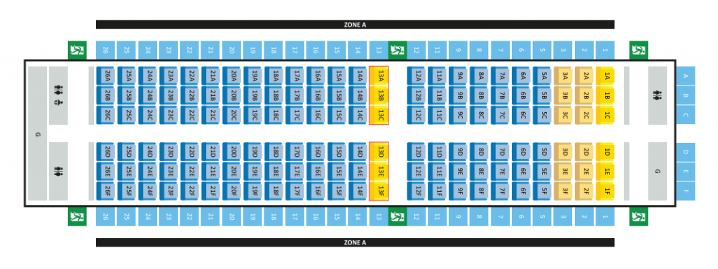 Seat Map and Seating Chart Airbus A319 100 Scoot Airlines