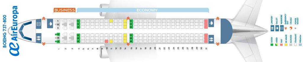 Seat Map and Seating Chart Boeing 737 800 Air Europa