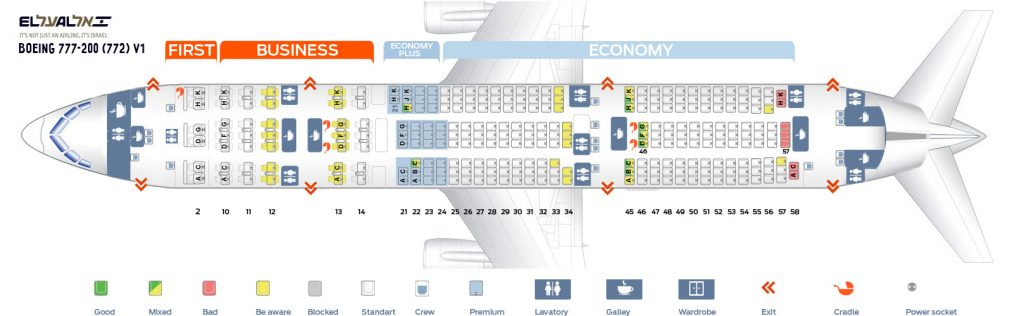 Seat Map and Seating Chart Boeing 777 200ER EL AL