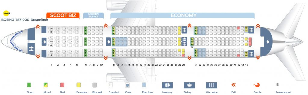 Seat Map and Seating Chart Boeing 787 9 Dreamliner Scoot Airlines