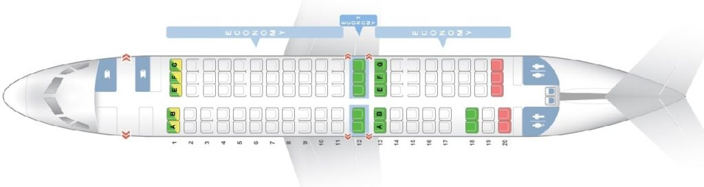 Seat Map and Seating Chart Fokker F100 Virgin Australia Regional