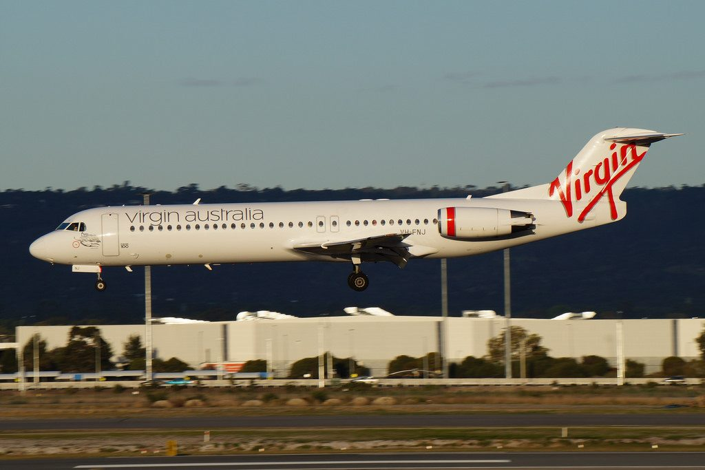 VH FNJ Virgin Australia Regional Fokker 100 Talbot Bay runway 03 arrival from Karratha at Perth International Airport