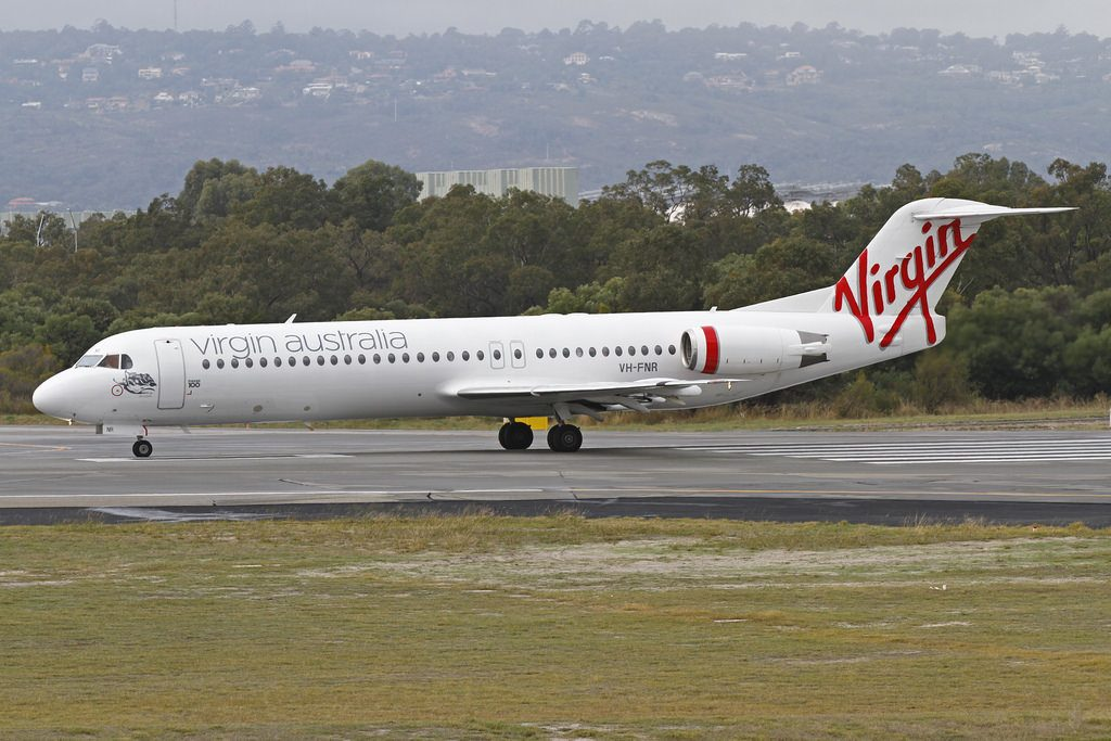 VH FNR Virgin Australia Regional SkyWest Airlines Fokker 100 F 28 0100 Lake Argyle at Perth Airport