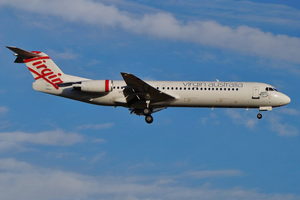 VH FNU Virgin Australia Regonal Fokker 100 Roebuck Bay at Perth Airport