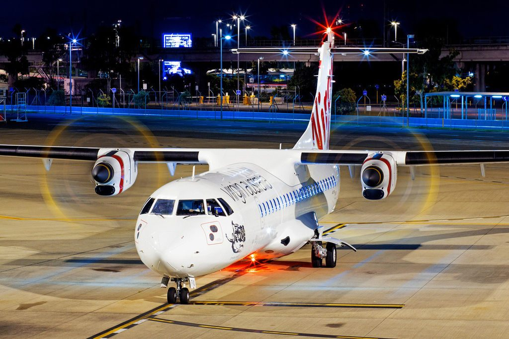 VH FVQ Virgin Australia ATR 72 600 Christies Beach at Brisbane Airport