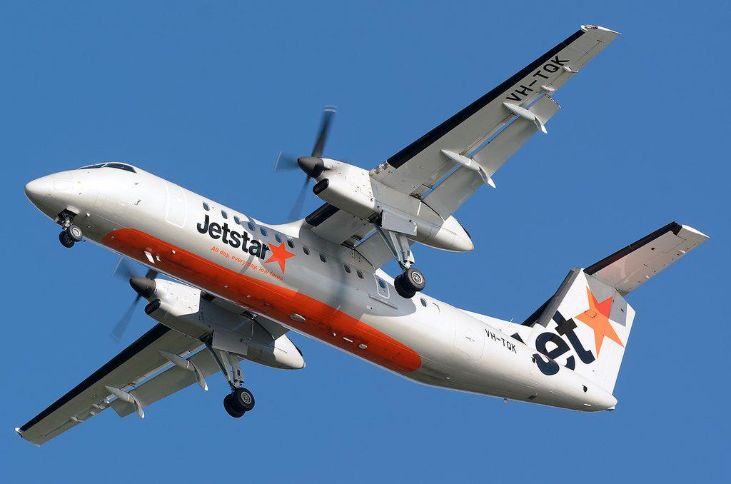 VH TQK Bombardier Dash 8 Q300 Jetstar Airways Eastern Australia Airlines at Hawkes Bay Airport