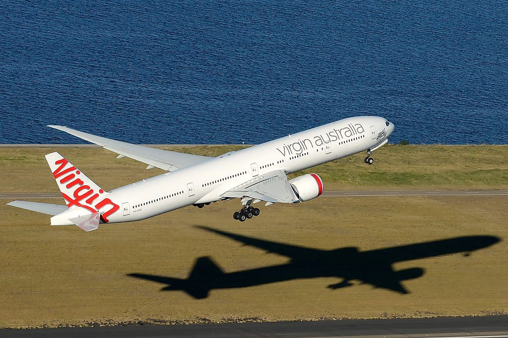 VH VOZ Virgin Australia Boeing 777 3ZGER Palm Beach take off from Sydney Airport