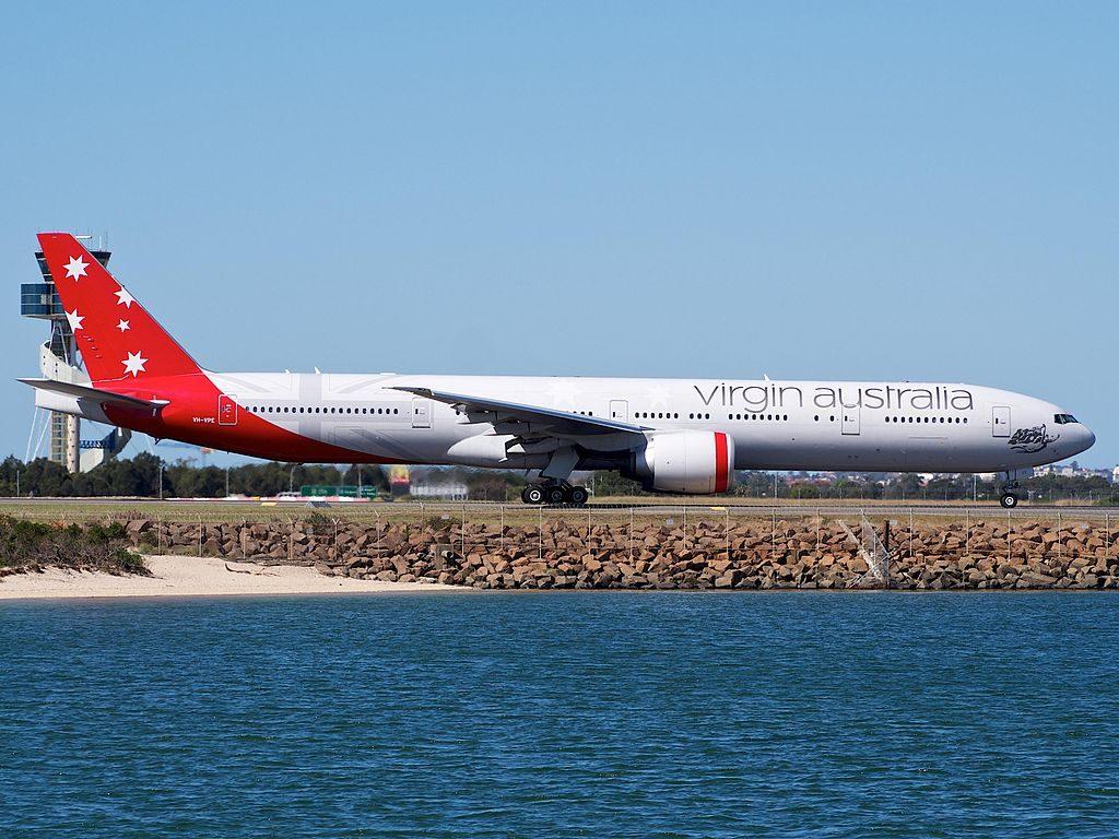 VH VPE Boeing 777 3ZGER Virgin Australia Noosa Heads Beach