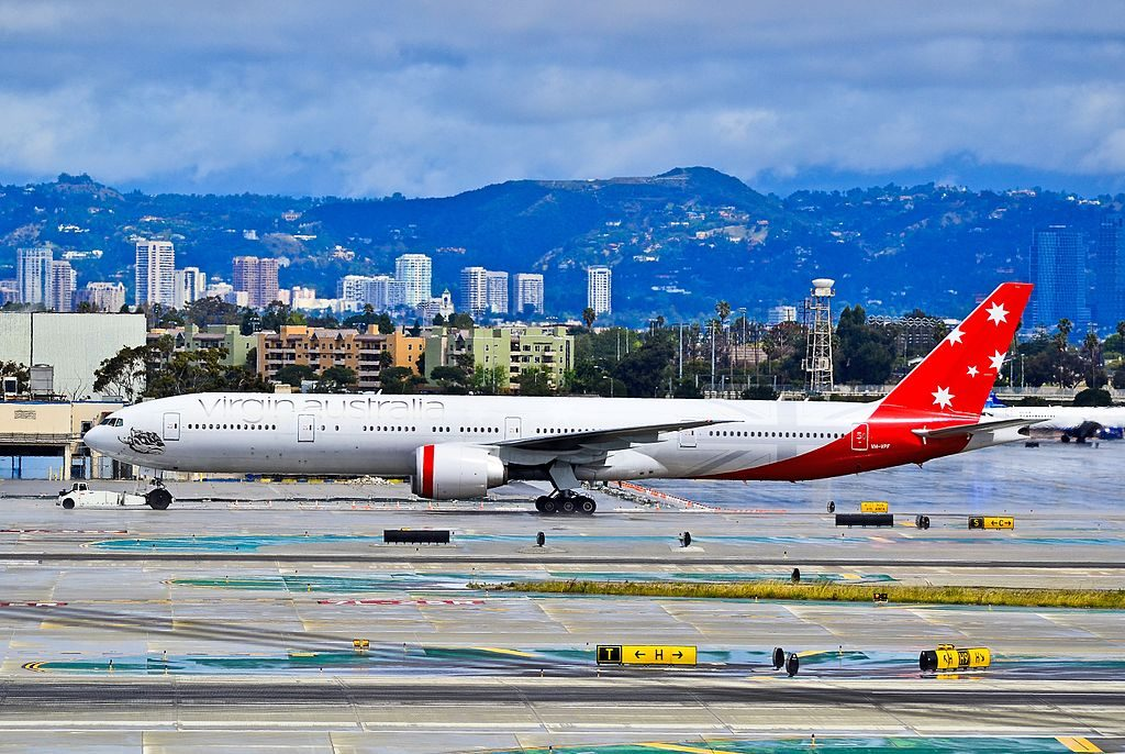 VH VPF Virgin Australia Airlines Boeing 777 3ZGER Caves Beach at Los Angeles International Airport
