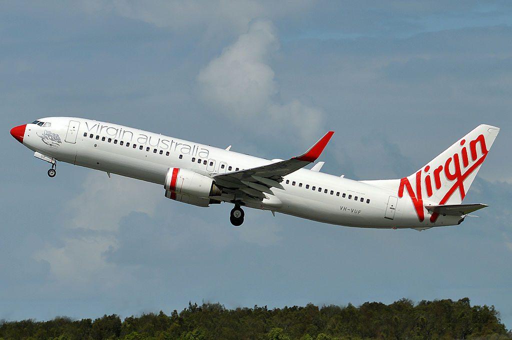 VH VUF Hobart Honey Boeing 737 8FEWL Virgin Australia at Brisbane International Airport