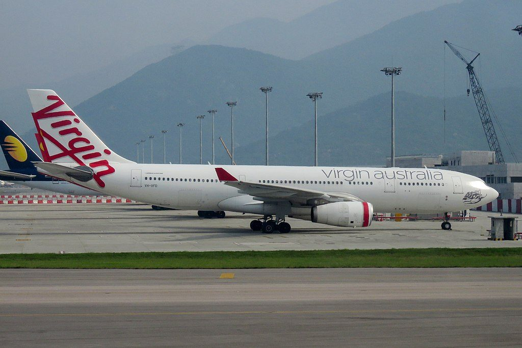 VH XFD Airbus A330 200 Bells Beach of Virgin Australia at Hong Kong International Airport